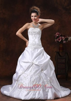 Satin Pick Ups Embroidery Brush Train Wedding Dress