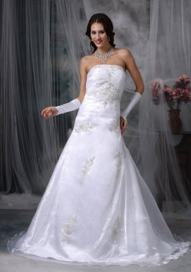 Strapless Organza Appliques Court Train Wedding Dress