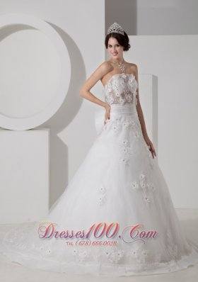 Tulle Appliques Court Train Wedding Dress Beaded