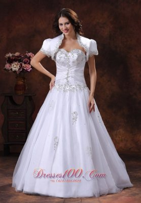Sweetheart Embroidery A Line Wedding Bridal Gown Dress