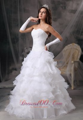 Ruffles Sweetheart Organza Wedding Dress With Gloves