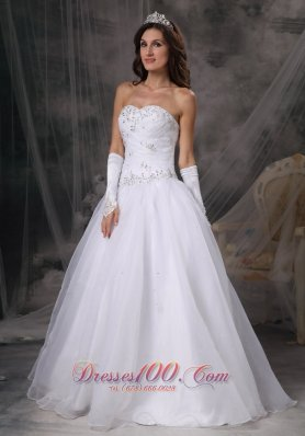 Hand Made Beaded Organza Sweetheart Wedding Dress