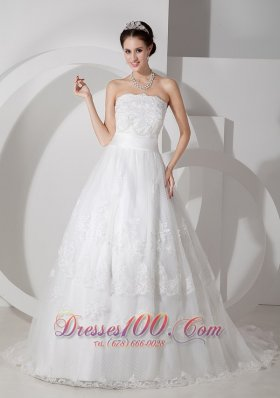 Brush Train A Line Strapless Wedding Dress Sash