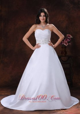 Satin Sweetheart Beaded Brush Train Wedding Dress