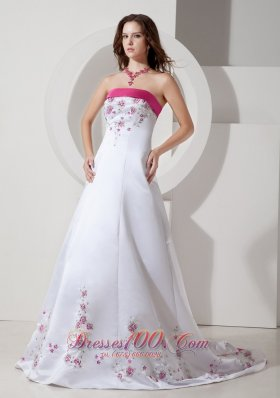 Hot Pink Embroidery Court Train Wedding Dress Colored