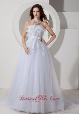 Tulle Chapel Train Embroidery Sashed Wedding Dress