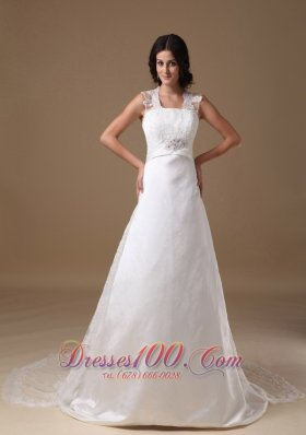 Square Lace Court Train Beaded Wedding Dress