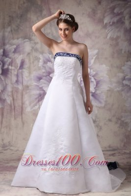 Satin Embroidery Chapel Train Wedding Dress With Color