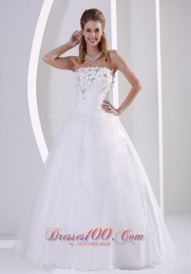 Organza Appliques Beach Wedding Dress Beaded