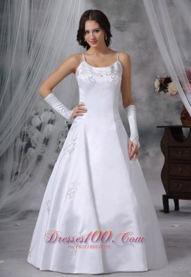 Spaghetti Straps Ball Gown Embroidery Wedding Dress
