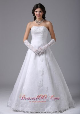 Strapless Lace A Line Wedding Dress With Gloves - US$226.38