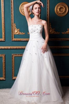 Layers Beading Strapless Ruched Wedding Dress