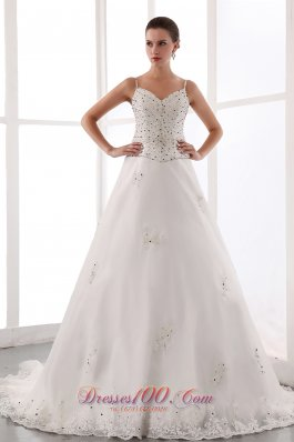 Spaghetti Straps Court Train Beaded Wedding Dress
