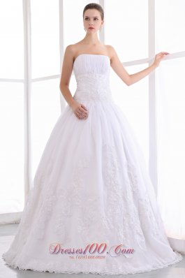 Lace Strapless A Line Bridal Wedding Gown Dress