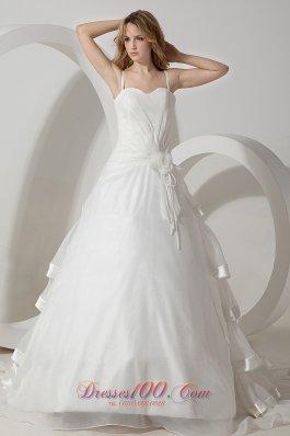 Organza Hand Made Flowers Brush Straps Wedding Dress