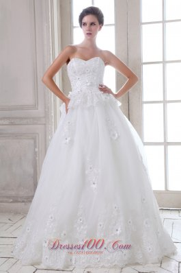 Appliques Tulle Sweetheart Brush Wedding Dress Beaded