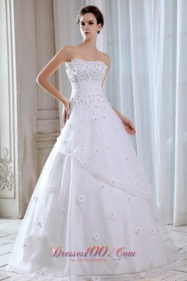 Appliques Strapless Tulle A Line Wedding Dress