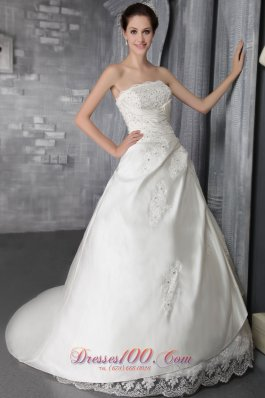 Lace Court Train Beading Strapless Wedding Dress