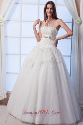 Tulle Beading Bow Strapless Wedding Gown Dress