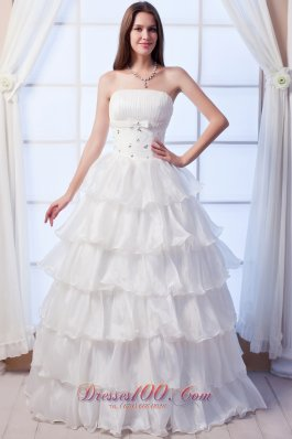 Layers Strapless Beading Organza Wedding Dress