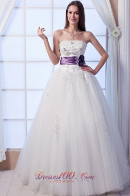 Hand Made Flowers Beaded Tulle Wedding Dress Colored