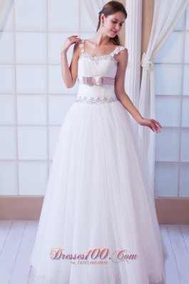 Beading Tulle Belt Colored Wedding Dress With Straps
