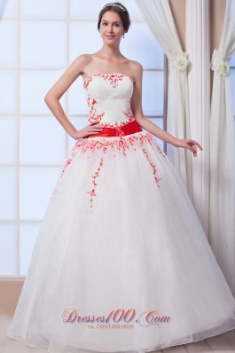 Colored Appliques Organza A Line Strapless Wedding Dress