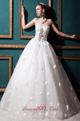 Ball Gown Beaded Sweetheart Appliques Wedding Dresses