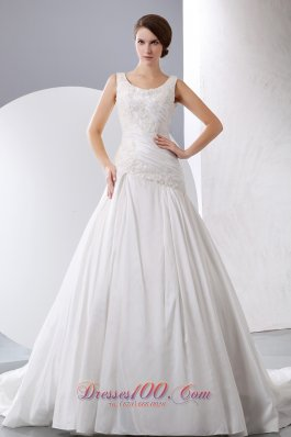 Scoop Appliques Chapel Train Taffeta Wedding Gown