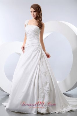 One Shoulder Appliques Chapel Train Ruch Wedding Dress