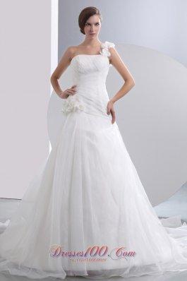 One Shoulder Flowers Ruched Chapel Wedding Dresses