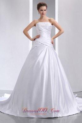 Ruched Taffeta Appliques Chapel Train Wedding Dress