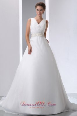 V Neck Beading Ruched Court Wedding Bridal Dresses