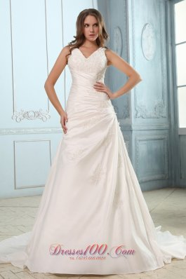 Custom Size Ruch V Neck Appliques Wedding Dress