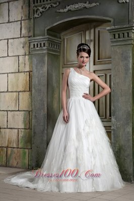 Feather One Shoulder Court Train Wedding Dresses