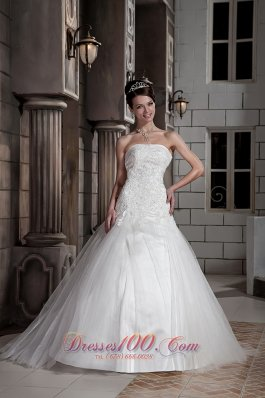 Beading Strapless Ball Gown Court Train Wedding Dress