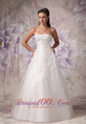 Strapless Beading Tulle Beach Wedding Dress A Line