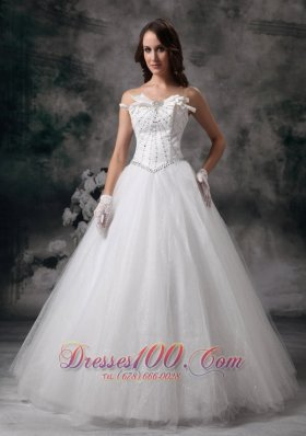 Tulle Beaded Strapless Bridal Gown Wedding Dress