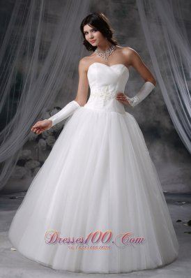 Sweetheart Appliques Tulle Wedding Dress Beaded