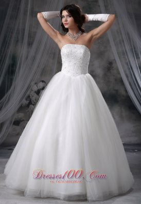 Beaded Tulle Ball Gown Strapless Wedding Gowns