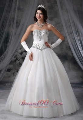 Ball Gown Beaded Wedding Dress With Gloves