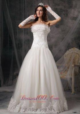 Strapless Organza Beading Lace Wedding Dress
