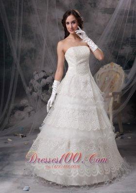 Layers Lace Strapless Wedding Dress