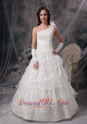 One Shoulder Lace Wedding Dress For Brides