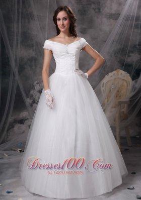 Customize Appliques Off The Shoulder Wedding Dress
