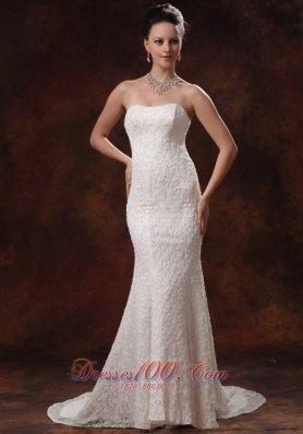 Mermaid Brush Train Lace Bridal Wedding Dress