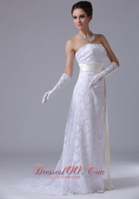 Lace Strapless Sweep Wedding Dress Sashed For Spring