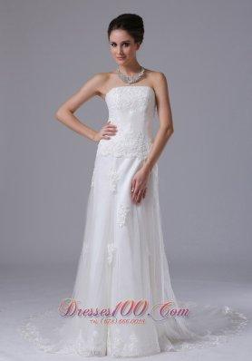Column Lace Court Train Wedding Bridal Gowns
