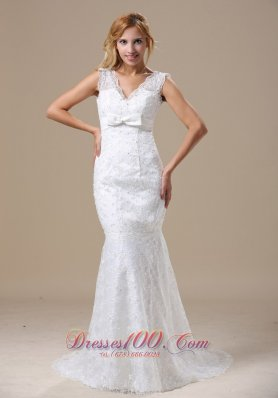 V Neck Mermaid Bowknot Brush Lace Wedding Dress