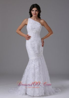 One Shoulder Mermaid Brush Lace Wedding Bridal Dress